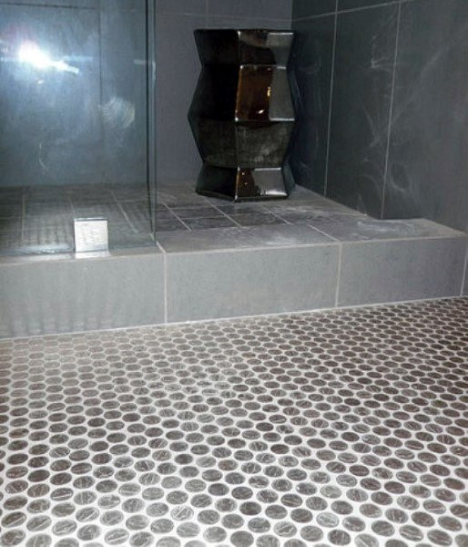 Dusj Penny Floor With White Grout