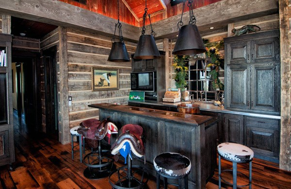 Coole rustikale Home Basement Bar Ideen