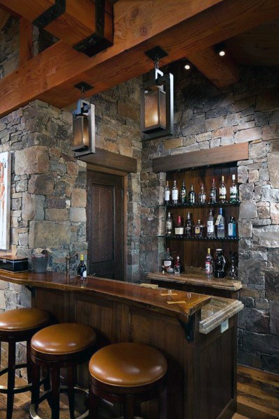 Stein und Holz Luxus Home Bar rustikalen Keller Designs