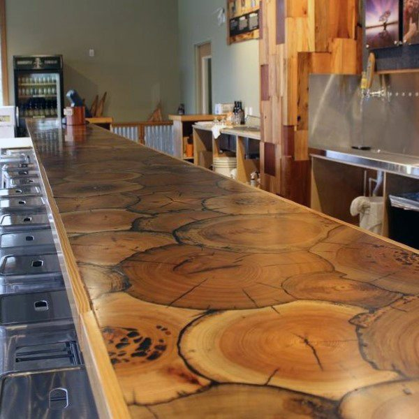 Holzstumpf Epoxy rustikal Home Bar Top-Ideen