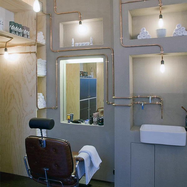 Barber Shop Design With Copper Piping One Walls