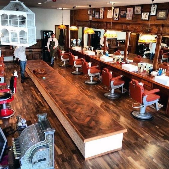 Barber Shop Wood Flooring And Table Design