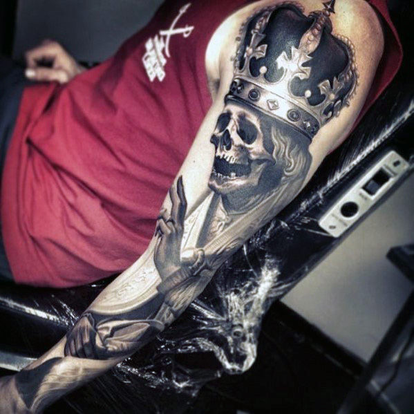 Vyrai's Crowned Skull Full Sleeve Tattoos