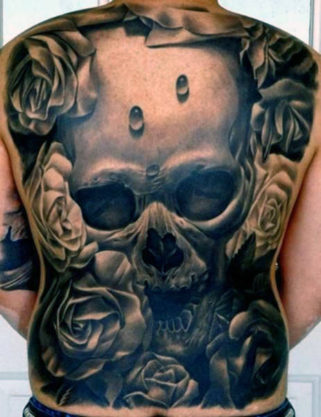 Vyrai's Back Skull Tattoo Designs
