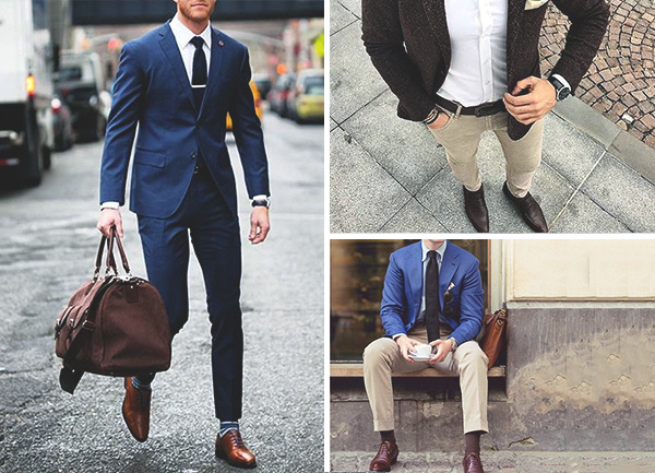 Mens Blue Suit Brown Shoes