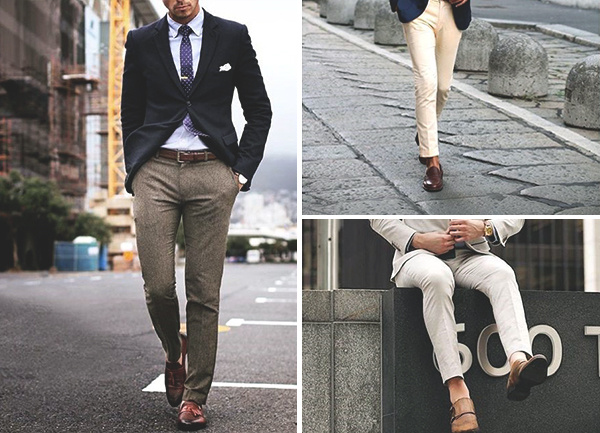 Brown Shoes su pilkiais kelnais Mens Style